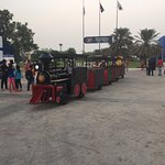 A toy train taking you around the activity park outside the Dubai Dolphinarium