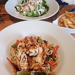 Chicken & Bacon Caesar Salad and Thai Squid Salad