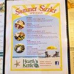 Seasonal menus add variety to standard year around fare