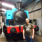 Me with the engine which doubles as Thomas The Tank Engine.