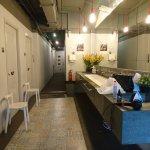 Vanity, bathrooms and hairdryer