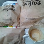 Cappuccino and sandwich + cakes to take-away