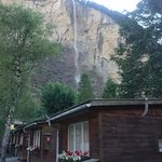 Some of the cabins and Staubbach waterfall in the background