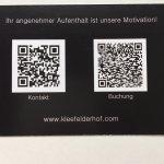 Visitenkarte Vorderseite mit QR-Codes
