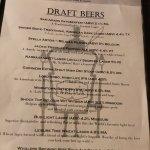Draft beer menu