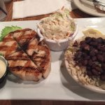wahoo with cold slaw and rice and beans. Wow delicious