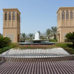 Front fountain and wind towers