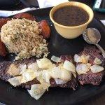 Vaca Frita with Black Beans, Garlic Brown Rice, and Maduros