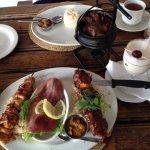 Bottom dish - SA Meat Mezzo. Top dish - springbok potjie