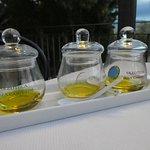 tasting/comparing 3 different olive oils at dinner!
