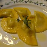 Cappellacci filled with scamorza and black truffles..yum!