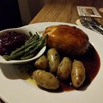 Game Pie with New Potatoes and Seasonal Veg