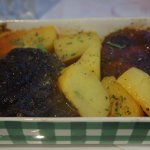 Vegetarian yemista with roast potatoes