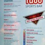 menu for Fuse Sports Bar