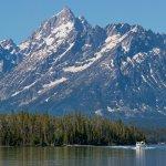 Cruise Jackson Lake to the base of the Teton Mountain Range.