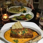 Beef lasagne and chicken dish with veg