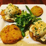 Crab Cake & Fried Green Tomato Eggs Benedict. Highly recommend!
