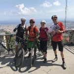 At the top of Tibidabo after around 4 hours of mountain biking