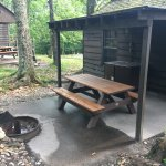 Covered picnic area and fire pit