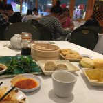 Chinese Broccoli, crispy tofu, water chestnut cake, taro cake