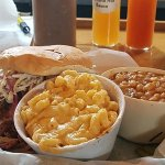 Pulled Pork with Slaw, Mac N Cheese, and Baked Beans