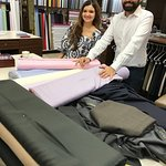 Dane and Ruppa assisting in fabric and color selection.