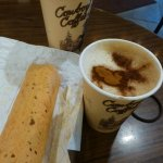 Latte, Cappaccino and breakfast Burrito