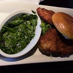 Parmesan-Crusted Chicken Sandwich & Spinach.