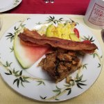 Breakfast #3 Eggs, bacon and bread pudding