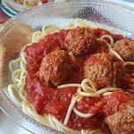 Spaghetti and meatballs at Green Acres