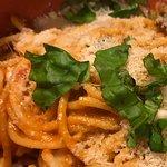 "Spaghetti ""Aum Aum"" with mozzarella fresh basil and Parmesan"