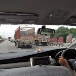 Vijay Singh expertly avoiding Indian Trucks on the motorway
