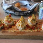Deviled Eggs with Cracklins and Pickled Okra