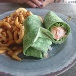 Shrimp spinach avocado wrap