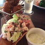 Lobster Roll and Hushpuppies