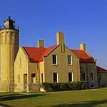 Recently refurbished and restored Old Mackinac Point Lighthouse.