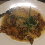 Cod with chanterelle mushrooms.