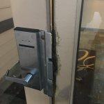 Exterior door to hotel -- how many times has this door been broken into?