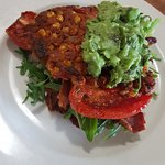 Sweet corn frittas with tomato, avacado salsa, bacon and spinach
