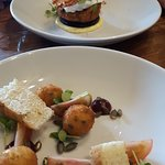 Goats cheese and basil bon bons and bubble and squeak