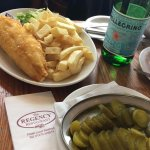 Place & chips and a gherkin