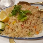 Fried rice with veg and crab meat but without egg.