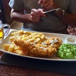 Fish & chips with minted mushy peas
