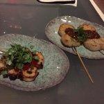 Robata Scallops (Prosciutto, Honey, mustard) + Robata Octopus (micro Arugula, tomato jam)