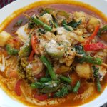 Pad Cha Talay (Spicy seafood with green pepper corns
