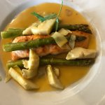 Salmon Pastina with artichokes and asparagus in a delicate sauce