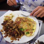Irish omelet with corned beef, my son was not a fan.