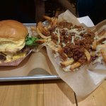 Loaded double cheese burger & chili fries. Huge portions!