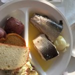 whitefish, potatoes, cole slaw, sweet bread