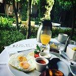Breakfast in the courtyard.